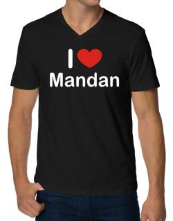 I Love Mandan V-Neck T-Shirt