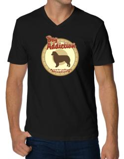 Dog Addiction : Australian Shepherd V-Neck T-Shirt