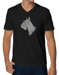 """ Schnauzer FACE SPECIAL GRAPHIC "" V-Neck T-Shirt"