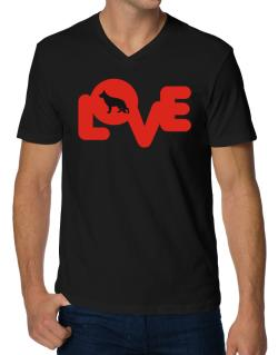 Love Silhouette German Shepherd V-Neck T-Shirt