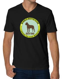 Boston Terrier - Wiggle Butts Club V-Neck T-Shirt