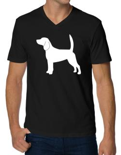Beagle Silhouette Embroidery V-Neck T-Shirt