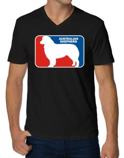 Australian Shepherd Sports Logo V-Neck T-Shirt