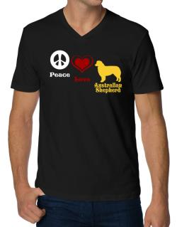 Peace, Love, Australian Shepherd V-Neck T-Shirt