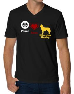 Peace, Love, Siberian Husky V-Neck T-Shirt