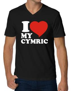 I Love My Cymric V-Neck T-Shirt