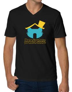 Home Is Where American Wirehair Is V-Neck T-Shirt