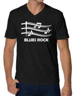Blues Rock - Musical Notes V-Neck T-Shirt