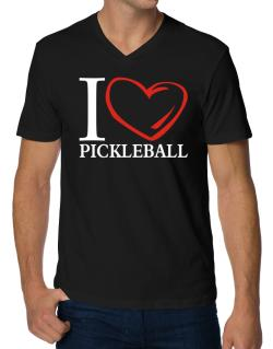 I Love Pickleball V-Neck T-Shirt