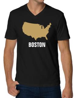 Boston - Usa Map V-Neck T-Shirt