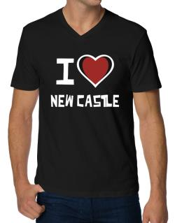I Love New Castle V-Neck T-Shirt