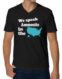 Ammonite Is Spoken In The Us - Map V-Neck T-Shirt