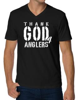 Thank God For Anglers V-Neck T-Shirt