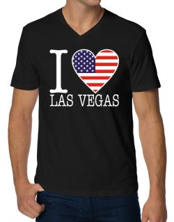 """ I love Las Vegas - American Flag "" V-Neck T-Shirt"