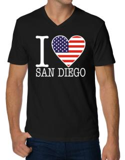 """ I love San Diego - American Flag "" V-Neck T-Shirt"