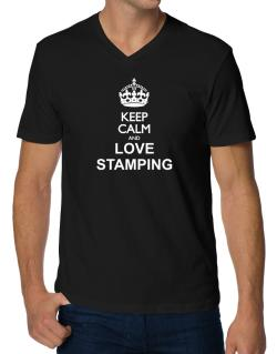 Keep calm and love Stamping V-Neck T-Shirt