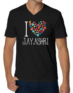I love Jayashri colorful hearts V-Neck T-Shirt
