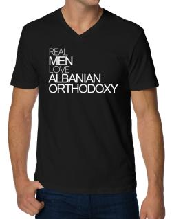 Real men love Albanian Orthodoxy V-Neck T-Shirt