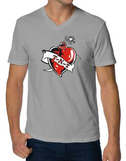 T-n-t - Heart Bomb V-Neck T-Shirt