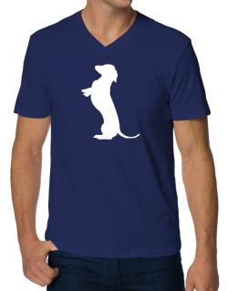 Begging Dachshund V-Neck T-Shirt