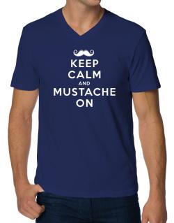 Mustache on V-Neck T-Shirt