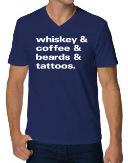 Whiskey coffee beards and tattoos V-Neck T-Shirt