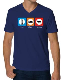 Eat sleep Manx V-Neck T-Shirt