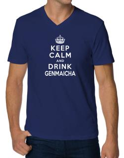 Keep calm and drink Genmaicha V-Neck T-Shirt