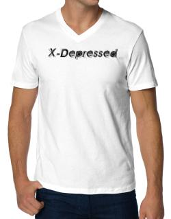 X-depressed V-Neck T-Shirt