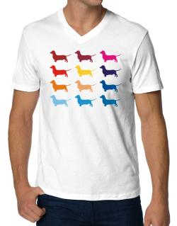 Colorful Dachshund V-Neck T-Shirt