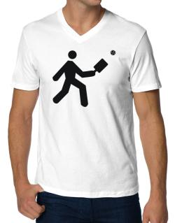 Pickleball Stickman V-Neck T-Shirt