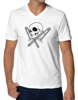 Skull and Trombone V-Neck T-Shirt