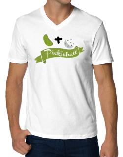 Pickle plus ball equals pickleball V-Neck T-Shirt