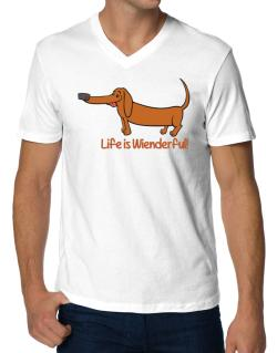 Dachshund life is Wienderful!  V-Neck T-Shirt