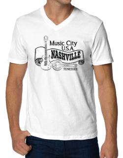 Music city Usa Nashville Tennessee V-Neck T-Shirt