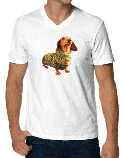 Polo Cuello V de Dachshund christmas sweater