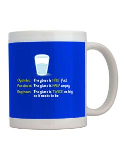 Optimist pessimist engineer glass problem Mug