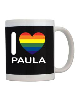 I Love Paula - Rainbow Heart Mug
