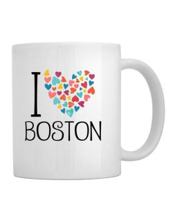 I love Boston colorful hearts Mug
