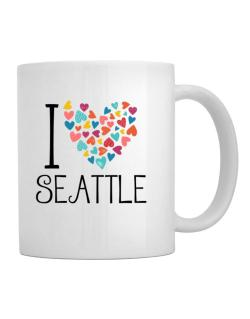 I love Seattle colorful hearts Mug