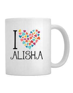 I love Alisha colorful hearts Mug