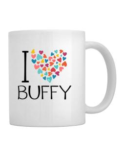 Taza de I love Buffy colorful hearts