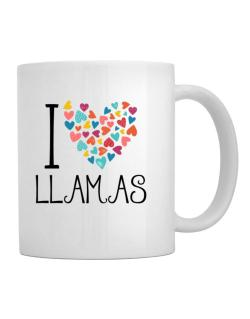 I love Llamas colorful hearts Mug