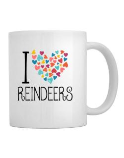I love Reindeers colorful hearts Mug