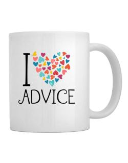 I love Advice colorful hearts Mug