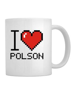 I love Polson pixelated Mug