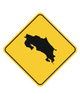 Costa Rica Map Crossing Sign