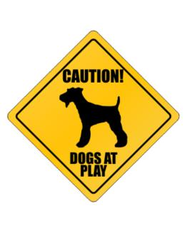 """ Dogs at play Fox Terrier "" Crossing Sign"