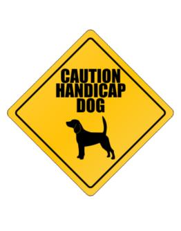 """ Caution handicap dog Beagle "" Crossing Sign"