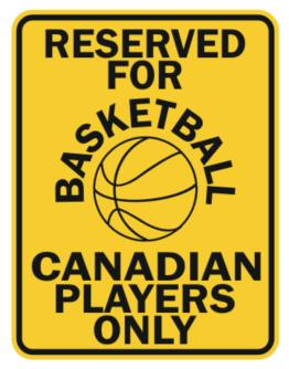 Reserved For Basketball, Canadian Players Only Parking Sign